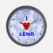 I Love Lena (Blue) Valentine Wall Clock