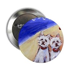 "Westies at the beach 2.25"" Button (10 pack)"