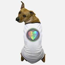 Gay Rainbow Heart Dog T-Shirt
