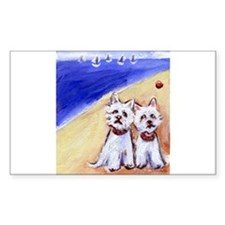 Westies at the beach Rectangle Decal