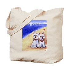 Westies at the beach Tote Bag