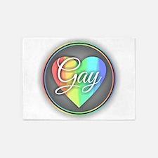 Gay Rainbow Heart 5'x7'Area Rug
