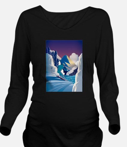 Graphic Skiing Down Long Sleeve Maternity T-Shirt