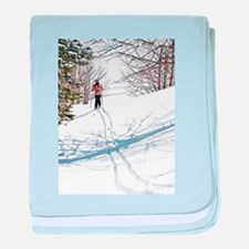 Lone Cross Country Skier baby blanket