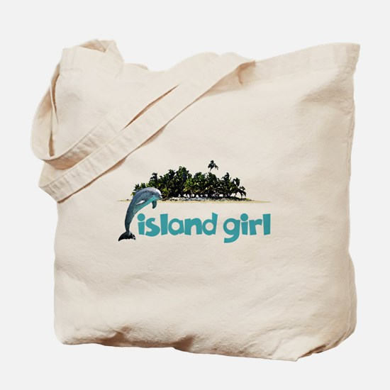 Island Girl With Dolphin Tote Bag
