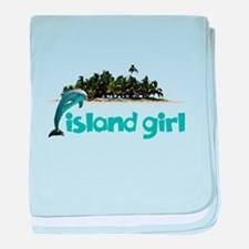 Island Girl With Dolphin baby blanket