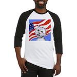 Westie w American Flag Baseball Jersey