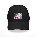 Westie w American Flag Black Cap