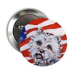 Westie w American Flag Button