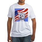 Westie w American Flag Fitted T-Shirt