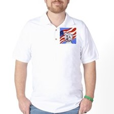 Westie w American Flag T-Shirt