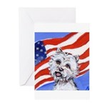 Westie w American Flag Greeting Cards (Package of