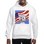 Westie w American Flag Hooded Sweatshirt