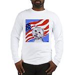 Westie w American Flag Long Sleeve T-Shirt