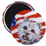 Westie w American Flag Magnet