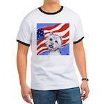 Westie w American Flag Ringer T