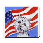 Westie w American Flag Mousepad