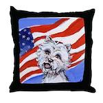 Westie w American Flag Throw Pillow