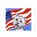Westie w American Flag Postcards (Package of 8)