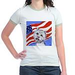 Westie w American Flag Jr. Ringer T-Shirt