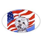 Westie w American Flag Oval Sticker