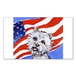Westie w American Flag Rectangle Sticker