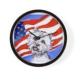 Westie w American Flag Wall Clock