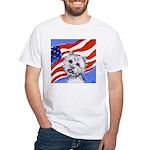 Westie w American Flag White T-Shirt