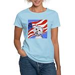 Westie w American Flag Women's Pink T-Shirt