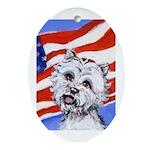 Westie w American Flag Keepsake (Oval)