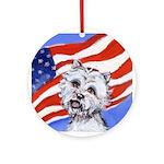 Westie w American Flag Keepsake (Round)