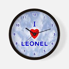 I Love Leonel (Blue) Valentine Wall Clock