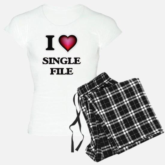 I Love Single File Pajamas
