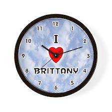 I Love Brittany (Black) Valentine Wall Clock
