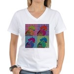 Roosters Gone Psycho Women's V-Neck T-Shirt