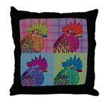 Roosters Gone Psycho Throw Pillow