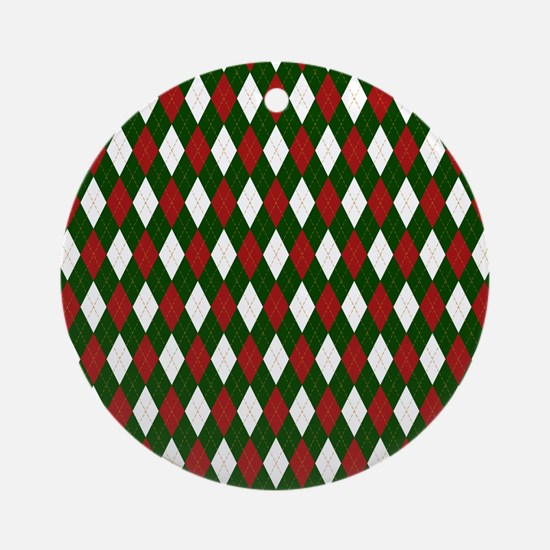 Green and Red Argyle Harlequin Diamond Pattern Rou