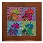 Roosters Gone Psycho Framed Tile