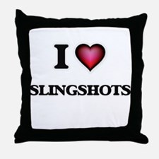 I love Slingshots Throw Pillow