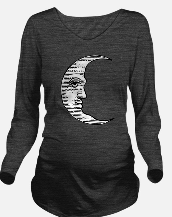 Cute Moon face Long Sleeve Maternity T-Shirt
