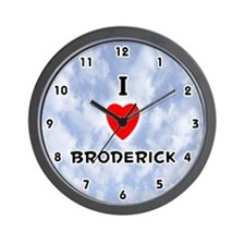 I Love Broderick (Black) Valentine Wall Clock