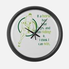 if a horse has four legs Large Wall Clock