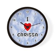 I Love Carissa (Black) Valentine Wall Clock