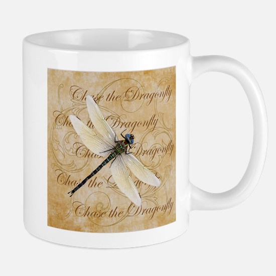 White Dragonfy Collage Mugs