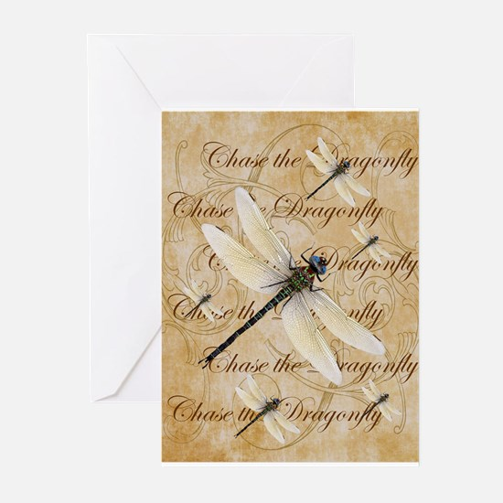 White Dragonfy Collage Greeting Cards
