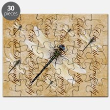 White Dragonfy Collage Puzzle