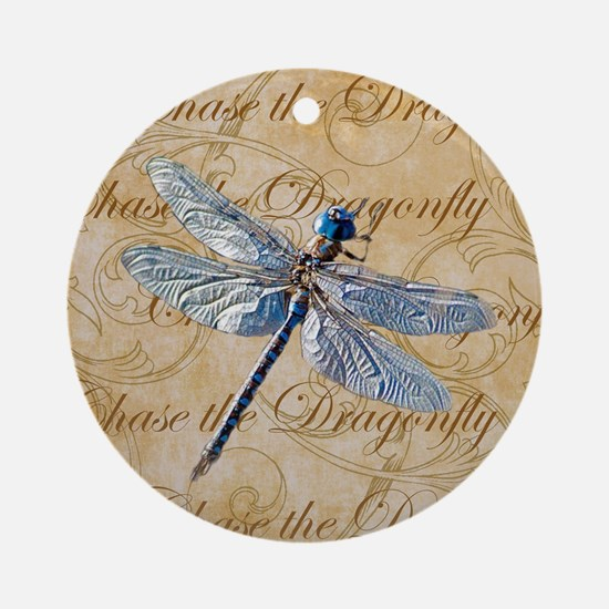Blue Dragonfly Collage Round Ornament