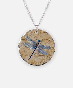 Blue Dragonfly Collage Necklace