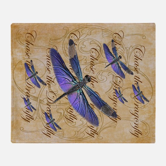 Purple Dragonfly Collage Throw Blanket