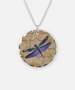 Purple Dragonfly Collage Necklace